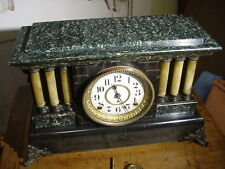 ANTIQUE SETH THOMAS 1900 GREEN ADAMANTINE 6 COLUMN MANTEL CLOCK WORKING WELL