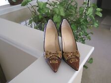 COLE HAAN, NAVY/BROWN/GOLD STILETTOS WITH PAISLEY PRINT/BOW, 6.5B