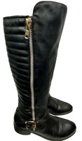Rosalli Women's Biker Motorcycle Knee Boots 8 Black Silver Gold Faux Leather
