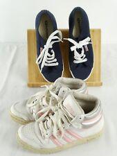 2 Pair Girls Shoes Adidas Sports Hightops & Superga Blue Canvas Size US 4 White