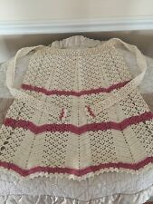 Vintage 1940's Hand Crocheted Pink Ivory Apron
