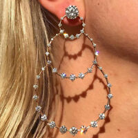 1pc Boho Crystal Stud Earrings Wedding Party Gifts Big Circle Round Silver Color