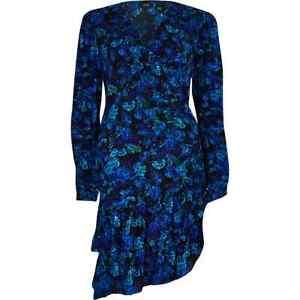 River Island Blue Floral Long Sleeve Ruffle Tea Dress Size 8 BNWT