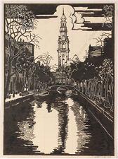"Josef Lacina (b. 1899) ""Groenburgwal/Amsterdam"", preparatory drawing and woodcut"