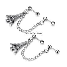 Stainless Steel Eiffel Tower Double Cartilage Chain Earring Silver Tone 2pcs