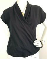 Anthropologie Maeve Faux Wrap Knit Top Short Sleeve Cotton Blend Black M EUC