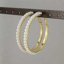 Gold White faux pearl hoop earrings hoops lever back post large wide lightweight