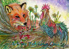 """ACEO LE Art Card Print 2.5""""x3.5"""" """" Rooster And Fox """" Art by Patricia"""