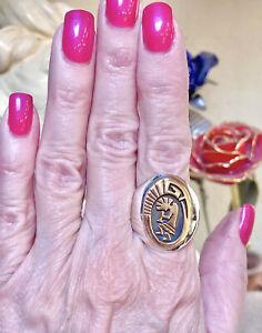 Wonderful Vintage Native American Sterling Silver & 14 Kt. Gold Kokopelli Ring