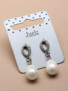 Beautiful Vintage Stylish Silver & White faux Pearl Drop Dangle Earrings Bridal