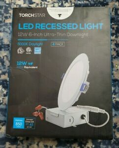 Torchstar 4 Pack 12W 6 inch Ultra Thin LED Recessed Light-5000K Daylight