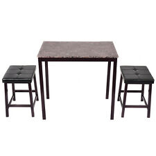 3 PCS Counter Height Dining Set Faux Marble Table W/2 Chairs Kitchen Furniture