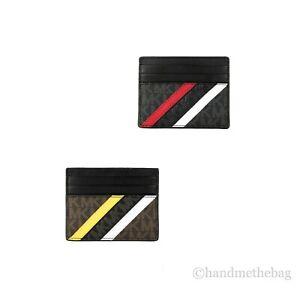 Michael Kors Cooper Mini MK Logo Stripe Signature PVC Tall Card Case ID Holder