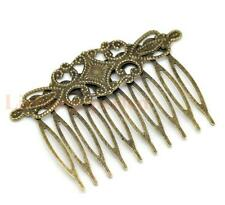 4 pcs Antique bronze small hair comb with filigree
