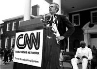 Ted Turner Attends Official Cnn Launch Event 1980 OLD PHOTO