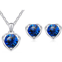 Dark Blue Silver Hearts Jewellery Set Stud Earrings & Pendant Necklace S678