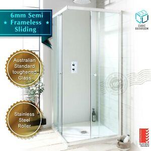 6mm Corner Entry Double Sliding Shower door 760/800/860/900/1000/1200mm (Chrome)