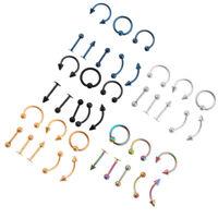 8Pcs Men Women Body Piercing Lot Belly Labret Ring Mix Eyebrow Bar Jewelry