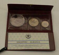 1970 Albania 3 Coin Silver Proof Set With Coa- Free Shipping Usa