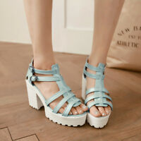 Womens Roman Gladiator Sandals Ankle Strappy Buckle Platform Block Heels Shoes