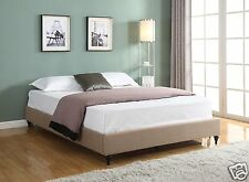 L BROWN Cloth Fabric QUEEN Size Platform Bed Frame Slats Chinese Modern Bedroom