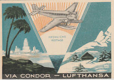 1937 Christmas themed Condor-Lufthansa postcard