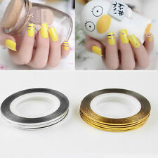 10 Roll Fashion DIY Gold &Silver Nail Tape Stickers Stripes Liner Art Tips New