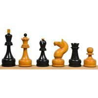"""1960's Soviet Championship Tal Chess Pieces Only Set - Antiqued Boxwood- 4"""" King"""