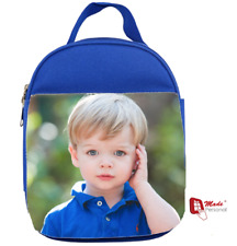 PERSONALISED PHOTO LUNCH BAG - Blue- Ideal for School - Any Photograph &  Name