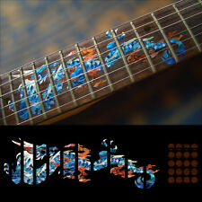 Fret Markers Neck Inlay Sticker Decal For Guitar - Fire Dragon - Abalone Blue