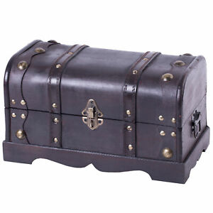 New Vintiquewise Small Pirate Style Wooden Treasure Chest, QI003026