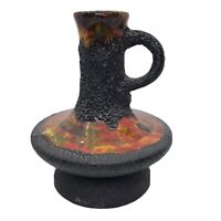 Vintage MCM Fat Lava Glaze Drip Black Mid Century Handle Jug Vase