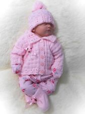 DK Knitting Pattern to knit baby girls modern cardigan hat booties set easy