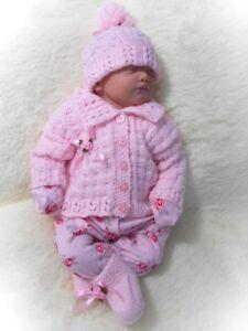 DK Knitting Pattern to knit baby girls modern cardigan hat booties set easy erin