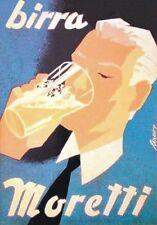 """Vintage Werbeschild """"1970 MORETTI BIER"""" WERBUNG, BEER ADVERTISING,POSTER,REKLAME"""