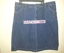 CJ Banks Women's Plus Size 18W Stretch Denim Skirt Medium Wash Jean Flap Pockets
