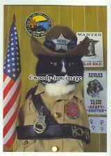 "su2593 - Cat Empire Card - Black & White Dog Catcher "" Hot Pussuit"" - postcard"