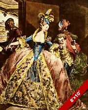 LES ADIEU GOODBYE FRENCH WOMAN IN ELABORATE DRESS PAINTING ART REAL CANVAS PRINT