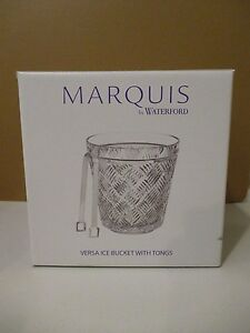 """WATERFORD VERSA ICE BUCKET WITH TONGS - 7"""" x 7 1/2""""  NEW IN BOX 1B"""