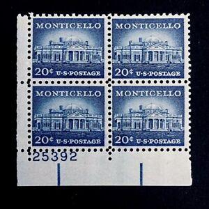 US Stamps, Scott #1047 Monticello 20c Plate Block VF/XF M/NH. PO fresh.