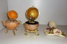 VTG 3pc Lot Trinket Music Box Footed Egg-Hat-Teapot Bejeweled Porcelain Enamel