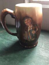 Antique Limoges porcelain mug Squeeze box player