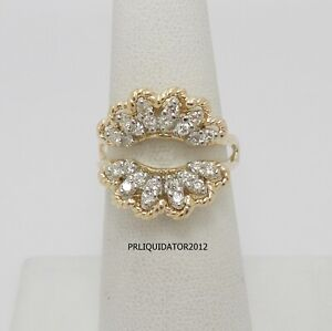 Vintage 1/2CT Diamond Solitaire Enhancer Guard Wrap Insert Ring 14K Yellow Gold