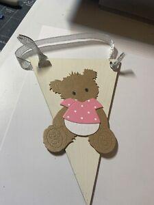 Baby Gro Wooden Hanger Nursery Gift Shabby Chic Rustic Teddy Bear Pink (b)