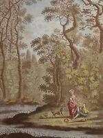 Gravure fin XVIII imp. COULEUR LA BERGERE COUROUCEE CURIOSA SCENE GALANTE 1790