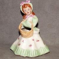 """Vase MID CENTURY Ceramic Vase Vintage Porcelain Girl w Basket Belle 6"""" Green HSC"""