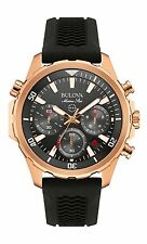 New Bulova 97B153 Rose Gold Tone Chronograph Stainless Rubber Strap Men's Watch