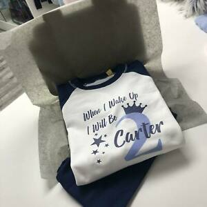 💙 personalised boy pyjamas When I Wake Up I Will Be 2 two Years birthday  pjs