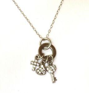 "925 Sterling Silver heart cross key cubic zirconia cz pendant necklace 2.9g 18"""