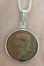 Authentic Ancient Roman Large Bronze Coin Emperor Claudius 925 Silver Necklace